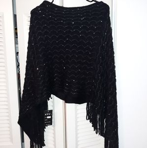NWT Black poncho with sequins